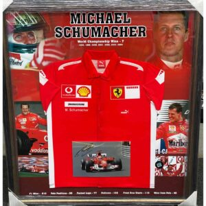 Racing Legend Michael Schumacher Signed Photo Ferrari Shirt Collage